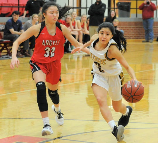 Snyder sophomore guard Abby Benitez (2) drives past Argyle's Madi Lumsden in a Region I-4A area playoff on Thursday, Feb. 20, 2020, at Eastland High School's Marshall Gym.