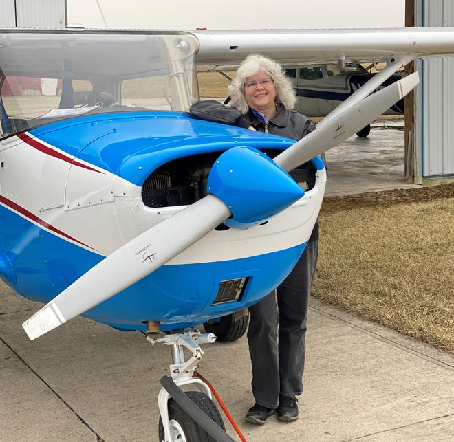 In addition to flight training, Peg Ballou portrays Lauretta Schimmoler, the first woman airport manager in the United States and first female airplane owner in Crawford County.