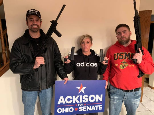 Strongly supporting the Second Amendment efforts in Crawford County were, from left, Bucyrus Council President Kurt Fankhauser, candidate for Ohio State Senate District 26 Melissa Ackison and Marine Corps member Robert Taylor.