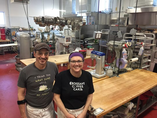 Chef-owners Andrew Silva and Alison Lane in the kitchen at the new location of Mirabelles Bakery in South Burlington on Feb. 20, 2020.