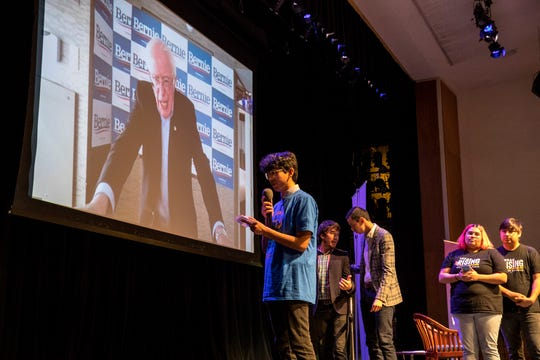 Presidential candidate Bernie Sanders answers questions via video conference during Movimiento 2020, a youth-led political forum focused on Latino youth hosted by Jolt Action at San Jacinto College in Pasadena, Texas, on Saturday, February 15, 2020.
