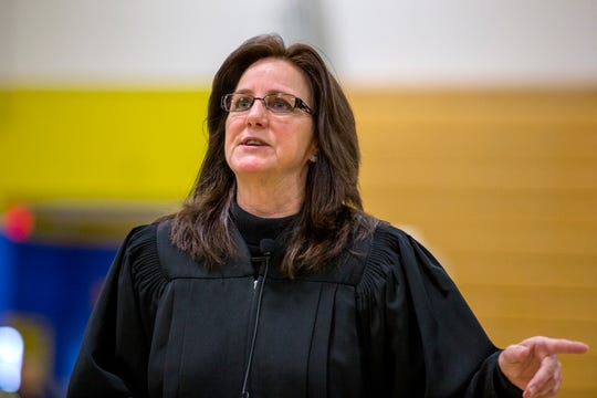 347th District Court Judge Missy Medary holds court in a gymnasium at Moody High School on Friday, February 21, 2020. It was an opportunity for students to get a closer look at the court process, as well as legal and law enforcement careers.
