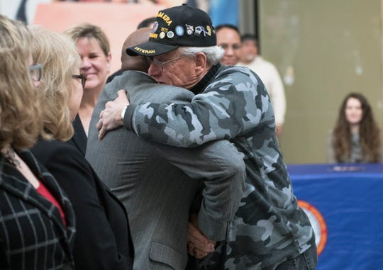 Jerry Skorch of Marlton, a U.S. Navy veteran who served during the Vietnam War era receives the Meritorious Service Medal during the New Jersey Department of Military & Veterans Affairs Medal Ceremony held at the Moorestown Mall on Friday, February 21, 2020.