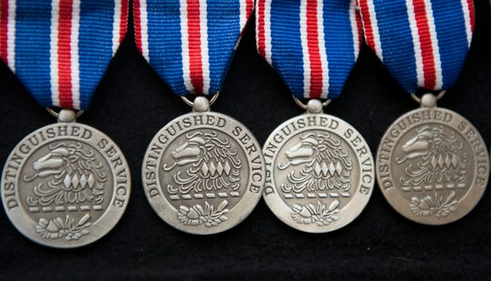Distinguished Service Medals are displayed during the New Jersey Department of Military & Veterans Affairs Medal Ceremony held at the Moorestown Mall on Friday, February 21, 2020.
