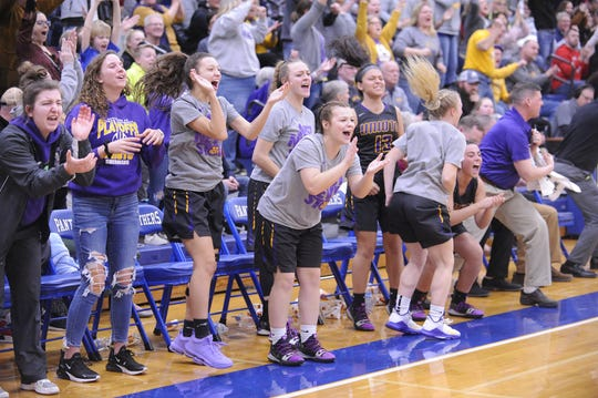 Unioto's bench celebrates during a 53-46 loss to Vinton County in a D-II District Semifinal on Thursday Feb. 20, 2020 at Southeastern High School in Chillicothe, Ohio.