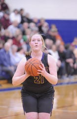 Unioto's Avery Miller shoots a jumpshot during a 53-46 loss to Vinton County in a D-II District Semifinal on Thursday Feb. 20, 2020 at Southeastern High School in Chillicothe, Ohio.