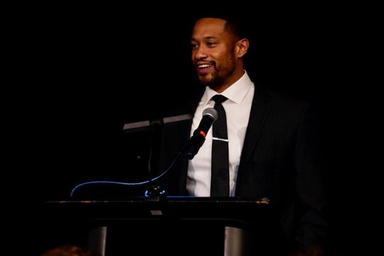 UC defensive coordinator Marcus Freman was the featured speaker at the Feb. 20, 2020, That's My Boy Award banquet, hosted by the National Football Foundation, at the Manor House, Mason.