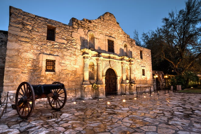 The Alamo at twilight.