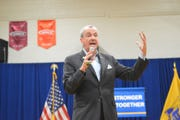 New Jersey Gov. Phil Murphy holds a town hall Thursday night at Lindwood Middle School in North Brunswick.