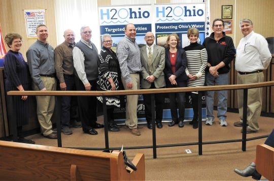 Those attending an announcement of $500,000 in H2Ohio funding for the City of Coshocton to West Lafayette waterline expansion were Jeannette Wierzbicki of OMEGA, Ronny Portz of Engineering Associates, retired Utilities Director Dave McVay, former Mayor Steve Mercer, West Lafayette Council President Christie Maurer, Mayor Mark Mills, Chief of the Division for Environmental and Financial Assistance Jerry Rouch, Ohio EPA Director Laurie Stephenson, City Auditor Sherry Kirkpatrick, City Councilman Roger Moore and Safety City Services Director Max Crown.