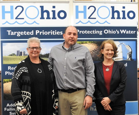 West Lafayette Village Council President Christie Maurer, Coshocton Mayor Mark Mills and Ohio EPA Director Laurie Stephenson announced $500,000 in H2Ohio funding for the waterline expansion project between the city and village.
