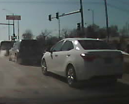 The occupants of the white sedan pictured here Feb. 20, 2020, near Southwest Ninth and Marion streets in Des Moines may be witnesses to a fatal crash in that area. Anyone with information about this car is encouraged to call police.