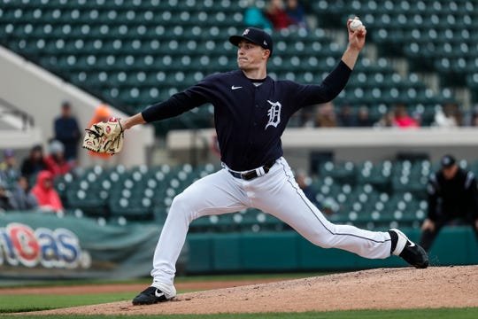 Tigers pitcher Tarik Skubal pitches the first inning in the exhibition game against Southeastern University at Joker Marchant Stadium in Lakeland, Fla., Friday, Feb. 21, 2020.