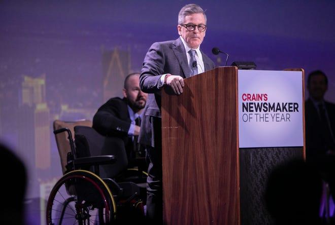 Detroit businessman Dan Gilbert was awarded Crain's Newsmaker of the Year award at the Grand Ballroom at the MGM Friday, Feb. 21, 2020.