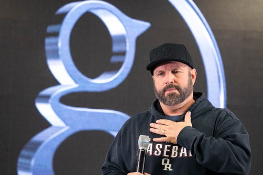Garth Brooks speaks to the media at Ford Field Friday, Feb. 21, 2020 before his sold out Stadium Tour at Ford Field.