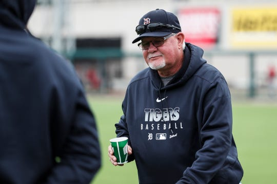 Tigers manager Ron Gardenhire arrives before the exhibition game against Southeastern University at Joker Marchant Stadium in Lakeland, Fla., Friday, Feb. 21, 2020.