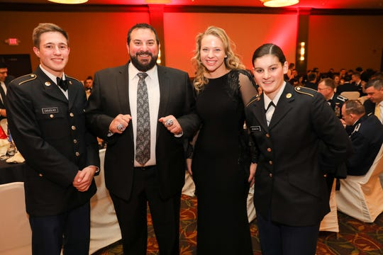 Detroit Lions coach Matt Patricia shows off his Super Bowl rings during a military ball at the Hilton Garden Inn in Troy, New York, on Friday, Feb. 14, 2020.