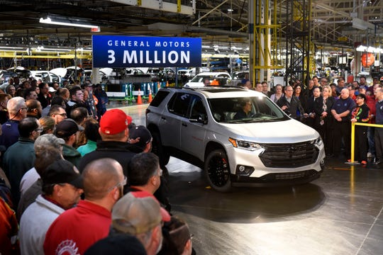 A 2020 Chevrolet Traverse on Friday was the 3-millionth vehicle to roll off the line at GM's Lansing Delta Township Assembly plant.