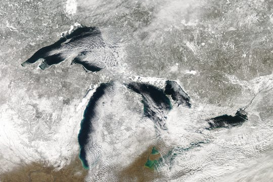 Satellite imagery of ice cover on the Great Lakes February 20 2020