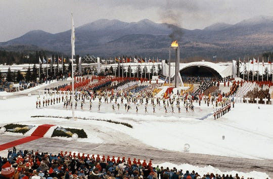 This Feb. 13, 1980, file photo shows the Opening Ceremonies of the Winter Olympics in Lake Placid, N.Y.
