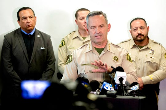 Riverside County Sheriff Chad Bianco provides update on the Perris triple homicide investigation during a news conference at the Riverside County Sheriff's Perris station on Tuesday, Feb. 18, 2020. Three adult males bodies were found yesterday at the Perris Valley Cemetery.