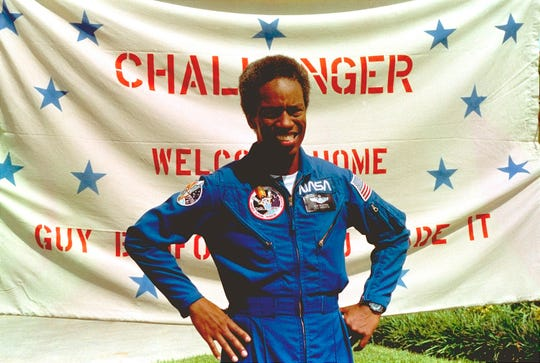 "In this Sept. 5, 1983, file photo, Guion Bluford, Jr., shuttle Challenger mission specialist, is shown in portrait on returning to the Johnson Space Center in Houston, Texas. The documentary ""Black in Space: Breaking the Color Barrier"" is scheduled to air on the Smithsonian Channel on Monday, Feb. 24, 2020, and examines the race to get black astronauts into space."