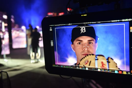 Tigers pitching prospect Tarik Skubal poses for promo photos during a Fox Sports Detroit shoot in Lakeland, Fla.