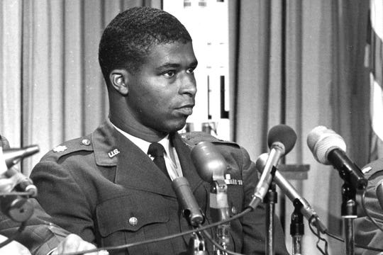 "In this June 30, 1967, photo, Maj. Robert H. Lawrence Jr., the first black astronaut in the U.S. space program, is introduced at a news conference in El Segundo, Calif. The documentary ""Black in Space: Breaking the Color Barrier"" is scheduled to air on the Smithsonian Channel on Monday, Feb. 24, 2020, and examines the race to get black astronauts into space."