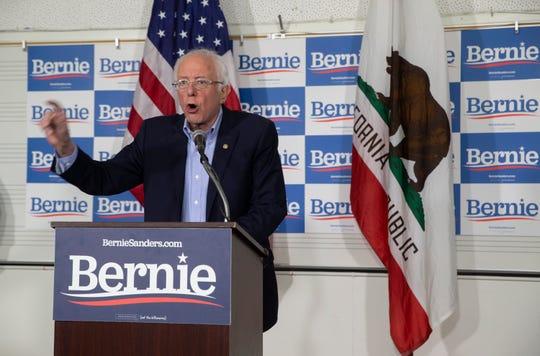 Democratic presidential candidate Sen. Bernie Sanders, I-Vt., speaks at the Valley High School in Santa Ana, Calif., Friday, Feb. 21, 2020.