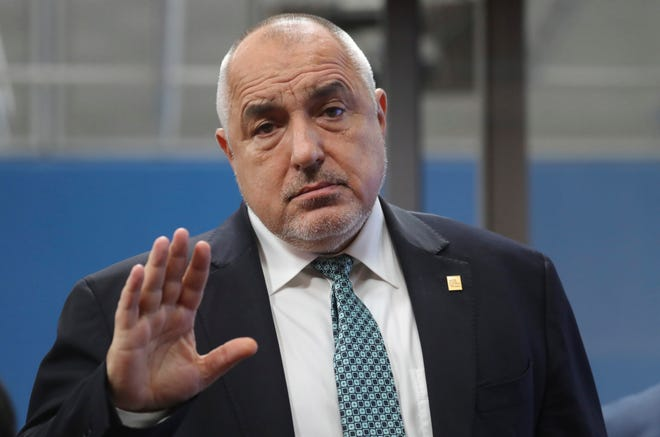 Bulgarian Prime Minister Boyko Borissov arrives for an EU summit at the European Council building in Brussels, Friday, Feb. 21, 2020.