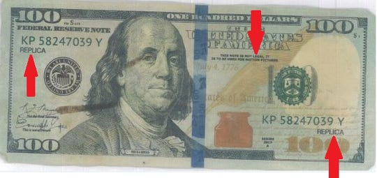 Counterfeit money used at several Green Bay fast food restaurants.