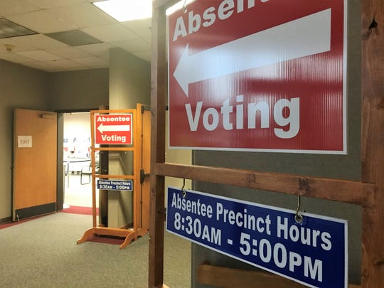 Signs posted Thursday, Feb. 20, 2020, at Greenville's County Square point to where voters can cast early ballots for the Democratic presidential primary, which will be on Feb. 29. Voters who want to can all cast early ballots for the Greenville County sheriff's race.