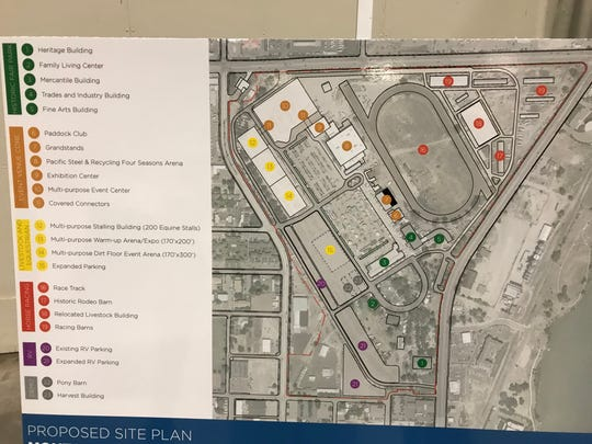 The new ExpoPark multi-use events center arena is indicated by the three gold dots in the corner bordered by 6th Street N.W. and the Northwest Bypass.