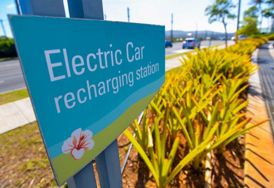 Power outlets are available to recharge electric vehicles in the parking lots of the Coast360 Federal Credit Union's main headquarters.