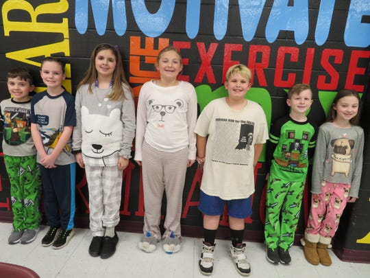 The  Niagara Intermediate Leaders of the Month for February 2020 are, from left, Jeremiah Totten, Tucker Hurt, Brianna Jones, Riley Baskett, Jackson Abell, Aidan Messer, and Chloe Deters.