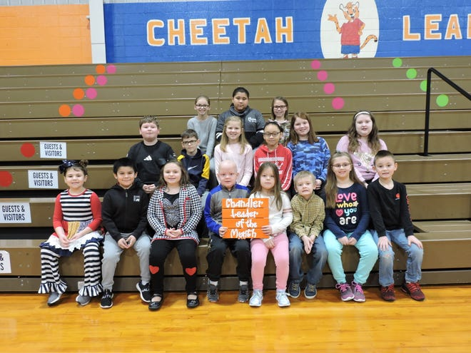 The AB Chandler Leaders of the Month for January 2020 are, first row from left, Aspen Walters, Jose Martinez-Vitales, Gentry Parker, Brycen Gish, Reagan Smith, JaKolby Caine, Adalyn Mays, and Carter Goffinet. Second row from left, Isaac Phillips, Kegan Cummings, Bella Swartz, Aliyah Guevara, Ellyson Sagez, and Charlee Rayburn. Third row from left, LaKey Cummings, Makayla Rose, and Ella Peterson.