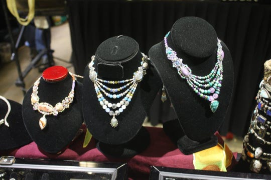 Jewerlry display at The Mississippi Gem and Mineral Society's annual show in 2019 at the Mississippi Trade Mart.
