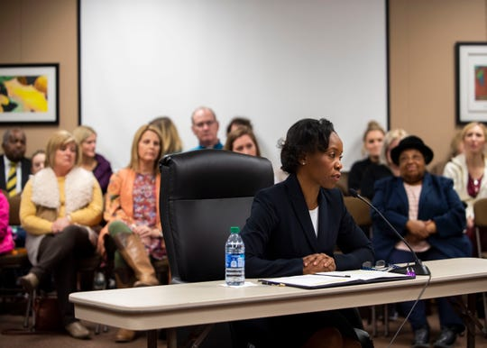 Superintendent candidate Versie Hamlett speaks to the school board at the Jackson-Madison County Board of Education during interviews for the superintendent position in Jackson, Tenn., Thursday, Feb. 20, 2020.