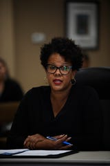 Superintendent candidate Sharon Williams sits in front of the school board members at the Jackson-Madison County Board of Education during interviews for the superintendent position in Jackson, Tenn., Thursday, Feb. 20, 2020.