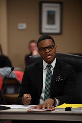 Superintendent candidate Marlon King speaks to the school board at the Jackson-Madison County Board of Education during interviews for the superintendent position in Jackson, Tenn., Thursday, Feb. 20, 2020.