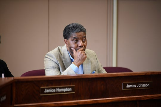 School board member James Johnson listens at the Jackson-Madison County Board of Education during interviews for the superintendent position in Jackson, Tenn., Thursday, Feb. 20, 2020.