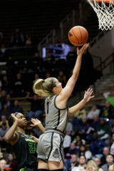 Purdue guard Karissa McLaughlin (1) goes up for two during the second quarter of a NCAA women's basketball game, Thursday, Feb. 20, 2020 at Mackey Arena in West Lafayette.