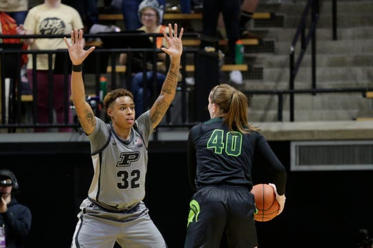 Purdue forward Ae'Rianna Harris (32) guards Michigan State guard Julia Ayrault (40) during the third quarter of a NCAA women's basketball game, Thursday, Feb. 20, 2020 at Mackey Arena in West Lafayette.