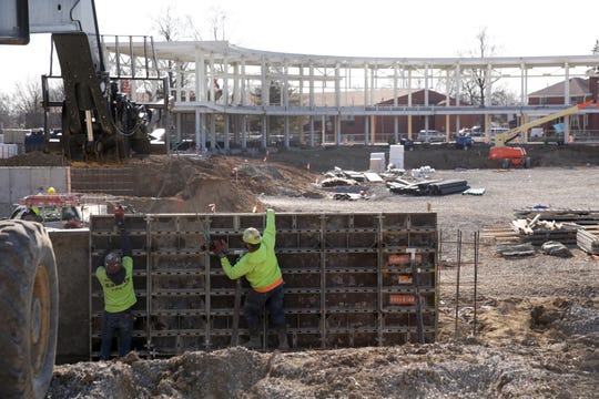 Construction continues on Loeb Stadium, Friday, Feb. 21, 2020 in Lafayette.