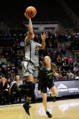 Purdue forward Jenelle Grant (22) goes up for a layup during the fourth quarter of a NCAA women's basketball game, Thursday, Feb. 20, 2020 at Mackey Arena in West Lafayette.