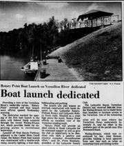 The Daily Advertiser reported on the Lafayette Rotary Club's donations to create Rotary Point in the 1980s.