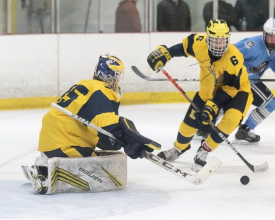 Hartland goalie Ryan Piros will be a key for the Eagles as they seek a third straight state Division 2 hockey championship.
