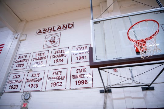 Part of the Ashland Paul Blazer Wall of fame before the Tomcats' final regular-season home game against Rose Hill at Ashland's Anderson Gym in Ashland, Ky. It was the first undefeated regular season for Ashland in 92 years.