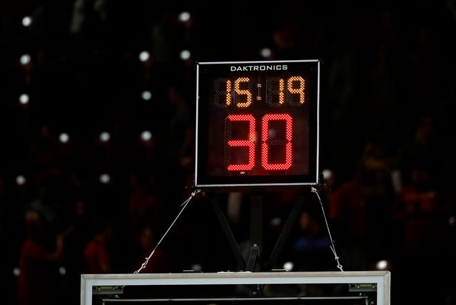 A shot clock stands is seen in the second half of an NCAA college basketball game between Maryland and Iowa in College Park, Md., Sunday, Jan. 7, 2018. (AP Photo/Patrick Semansky)