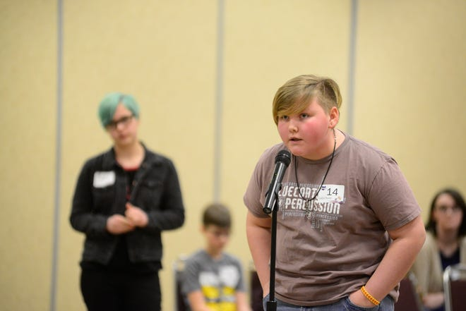 Caitlyn Thieret, an eighth-grader at Highland Middle School, won the 2020 Tri-County Spelling Bee on Thursday night.